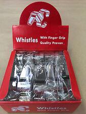 Box of 10 Silver Fingergrip Netball Umpire Whistles