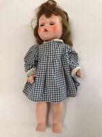 VINTAGE Unbranded Doll11 inch Hard Plastic Sleepy Eyes Long Hair R & B on Back