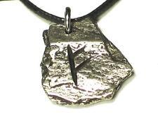 FEHU Viking 'Rustic Slate' Rune Pendant, Wealth, Prosperity, Letter 'F'
