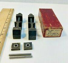 2 Vintage Starrett 160 Toolmaker Clamps With 2 Sets Spacer Blocks Amp Turn Handles