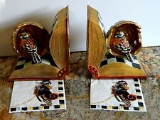 2Hand painted Opened Book w Bird Nest BookEnd/Holder w Mackenzie-childs 2napkins