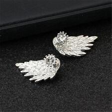 Accesorios Para Mujer y Niña Aretes Alas de Angel con Diamantes Bañado en Plata