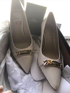 New ($198) Coach Bowery Nappa Leather Pumps Heels Shoes Chalk Mismatched NIB