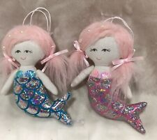 Set of 2 Hanging Mermaid w Pink Hair Ornament Mini Cloth Doll
