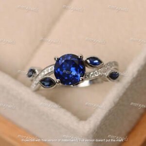 2.50Ct Round Cut Blue Sapphire Solitaire Engagement Ring 14K White Gold Finish