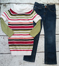"GYMBOREE ""Fall Homecoming"" Girls Striped Sweater, Green Tee, Jeans 5 6 7 EUC"