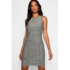 f063fd847c20 Boohoo Tall Textured Stripes Midi Dress Black TZZ96851 UK Size 10 VR152 013