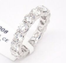 14k White Gold,VS2ct,G-H 4.00ct Diamonds 4mm Prong Set Eternity Band Ring,5.75
