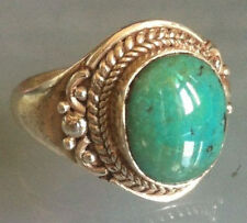 Traditional Sterling Silver Handcrafted Asian Turquoise Ring Size P 1/2 Gift