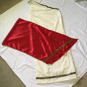Toga Woman Adult Costume Long White w/ Red Sash Sorority Deluxe Classic Cosplay
