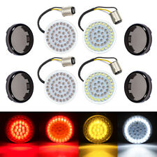 LED Bullet Style Turn Signals Light Inserts+Smoke Lens For Harley Touring Fatboy