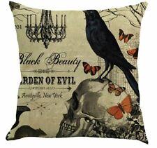 HAWTHORN GARDENS OWL & SKULL CUSHION COVER GOTHIC STEAMPUNK