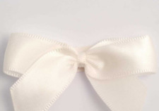 5cm Satin Bows - Ivory Self Adhesive Pre Tied 16mm Ribbon Pack 12 FREE P&P