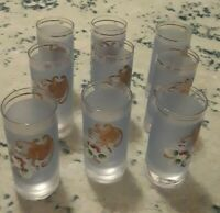 Vintage Blue Gold Bohemian Czech Hand Painted Floral Shot Glasses SET OF 9 . NEW