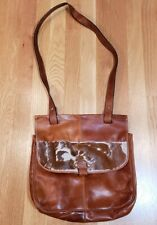Italian Brown Leather Thin Worn Messenger Bag With Cowhide 12x12x3