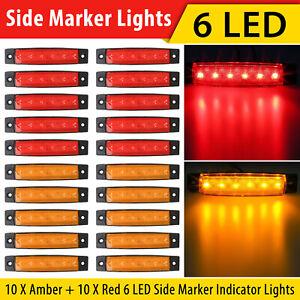 10X Amber + 10X Red 12V 6 LED Side Marker Indicator Lights Car Truck Trailer US