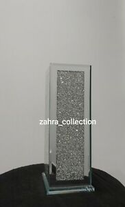 Crushed Crystal Diamond Bling Mirror Glass Silver Vase NEW Design