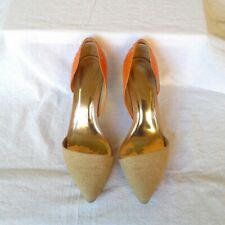 Coach Camille d'Orsay Burlap/Solid Snake Shoes Heels Pumps 8