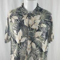 Caribbean Joe Men's Medium Hawaiian Floral Flower Shirt Black Tan