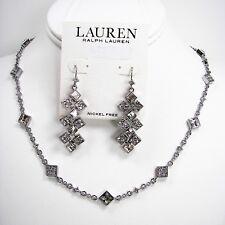 Ralph Lauren Square Crystal Necklace & Chandelier Earrings Set Silver Tone