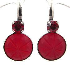 SoHo® Ohrringe Ohrhänger böhmischen Glas cabochons siam rot matt handmade
