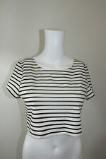 Regular Size Striped Short Sleeve Crop Tops for Women