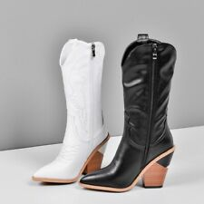 Women Pointed Toe 10cm Block Heel Cowboy Combat Gothic Embroidery Mid Calf Boots
