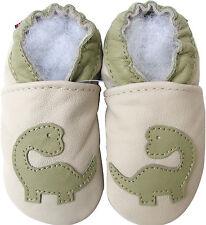 carozoo soft sole leather kids shoes dinosaur cream 5-6y