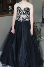 Black & Gold Strapless Jeweled Poofy Prom Formal Dress Size 6 $650 Retail