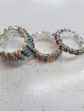 3X Toe Rings Elasticated Rhinestone Holiday Jewellery Silver Multi Coloured Gems