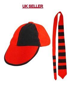 Adults School Boy Red & Black Cap And Tie Set Unisex Stag Night Hen Fancy Dress.