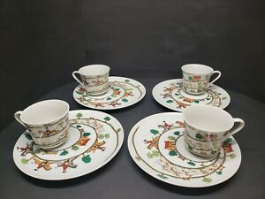 Set of Four TasteSetter by Sigma Fox Hunt Hunting Scene Snack Cup Saucer Sets