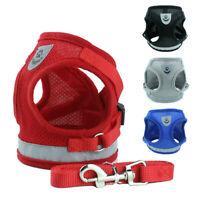 Reflective Dog Harness Nylon Mesh Vest Walking Leash Set Adjustable for Dog Cat