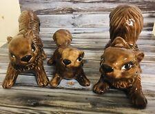 Vintage Ceramic Handmade Squirrel Family