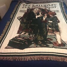Norman Rockwell Saturday Evening Post Woven Afghan Throw Blanket Goodwin Weavers