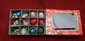 12 anciennes boules de noel en verre MINIATURE / old christmas ornaments