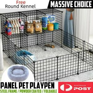 6/12 Panel Playpen Play Pen Pet Dog Puppy Exercise Cage Fence+Free Kennel House