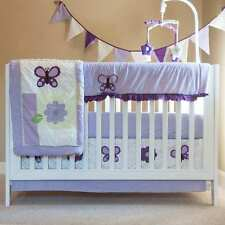Purple Butterfly 10 pcs Crib Bedding Set Baby Girl Nursery Quilt Mobile Diaper