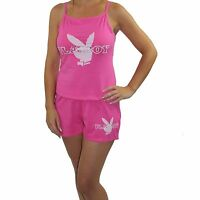 Womens PLAYBOY Pyjamas Shorts And Vest Set Nightwear Pink UK size 8 10 12 14 NEW