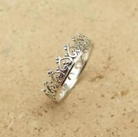 925 Sterling Silver 5mm Crown & Heart Design Band Stacking Ring Various Sizes