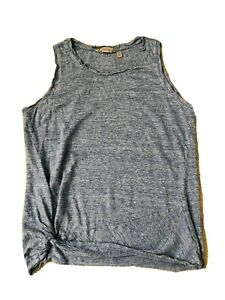 Athleta Linen Tank Top Womens Size Medium Heathered Blue Knotted Side