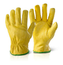 10 Pairs Of Fleece Lined Leather Lorry Drivers Work Gloves Safety Quality Size L