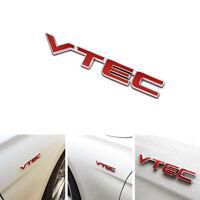 Red Metal VTEC Logo Chrome Emblem Car Letter Sticker Decal Auto Fender For Honda