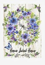 Home Sweet Home Dragonfly Butterfly Flower Wreath Mini Window Garden Yard Flag N