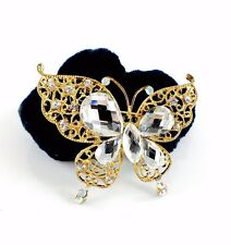USA Butterfly Ponytail holder Elastic Rhinestone Crystal Hair Tie Rope GOLD 15