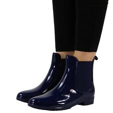 Womens Ladies Winter Rain Flat Chelsea Ankle Wellies Wellington BOOTS Shoes Size UK 6 / EU 39 / US 8 Blue