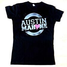 Austin Mahone Fan Girls Juniors Black Splatter T Shirt Signature On Back Med New
