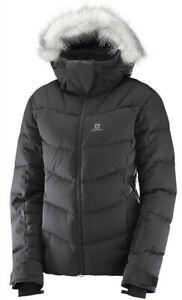 Salomon Icetown Womens Ski Snowboard Down Jacket Ladies Snow Coat Fur NEW RP£320