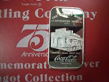 999 1 TO FINE SILVER INGOT BAR COCA COLA SELMA ALABAMA 75TH ANN COKE! RARE!!