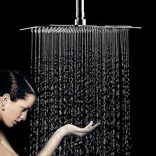 Bathroom Square Top Rainfall Shower Head Chrome Ultra Thin Stainless Steel 16""